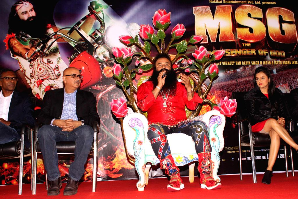 Dera Sacha Sauda chief Gurmeet Ram Rahim Singh during a press conference to promote his upcoming film `MSG: The Messenger of God` in New Delhi, on Jan 6, 2015.