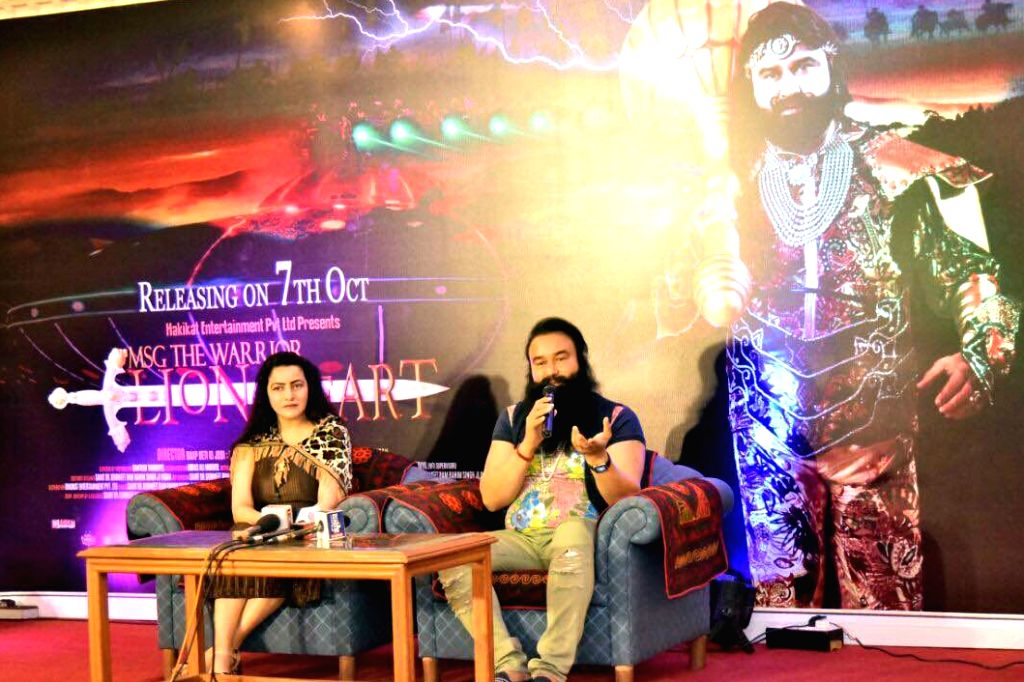 "Dera Sacha Sauda chief Gurmeet Ram Rahim Singh Insan addresses a press conference regarding his upcoming film ""MSG - The Warrior Lion Heart"" in Bengaluru on Sept  29, 2016."
