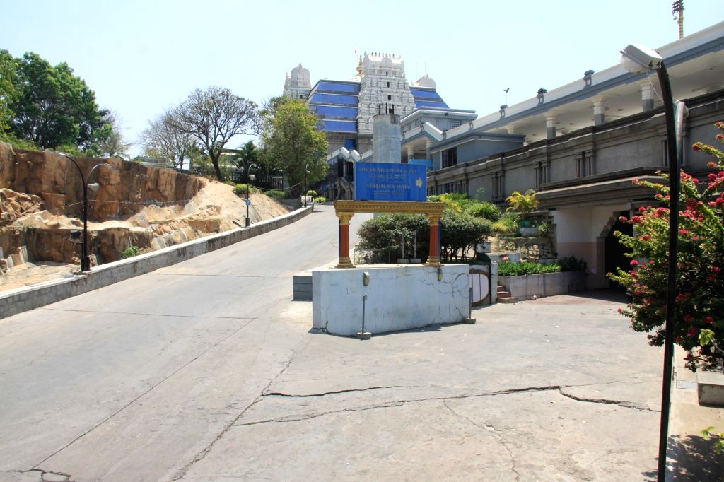 Deserted look at ISKCON temple amid Coronavirus outbreak, in Bengaluru on Thursday 19 March 2020.