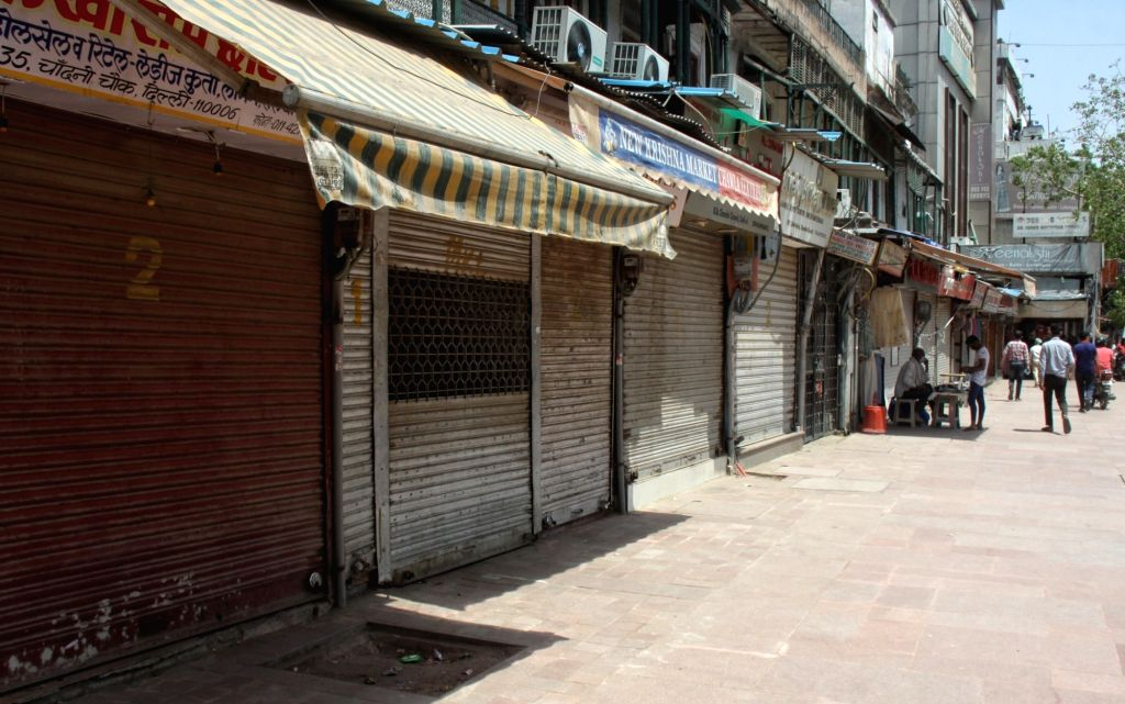 Deserted view of Chandni Chowk after market association announce market closed till april 26, 2021 in new Delhi On Monday, 19th 2021.