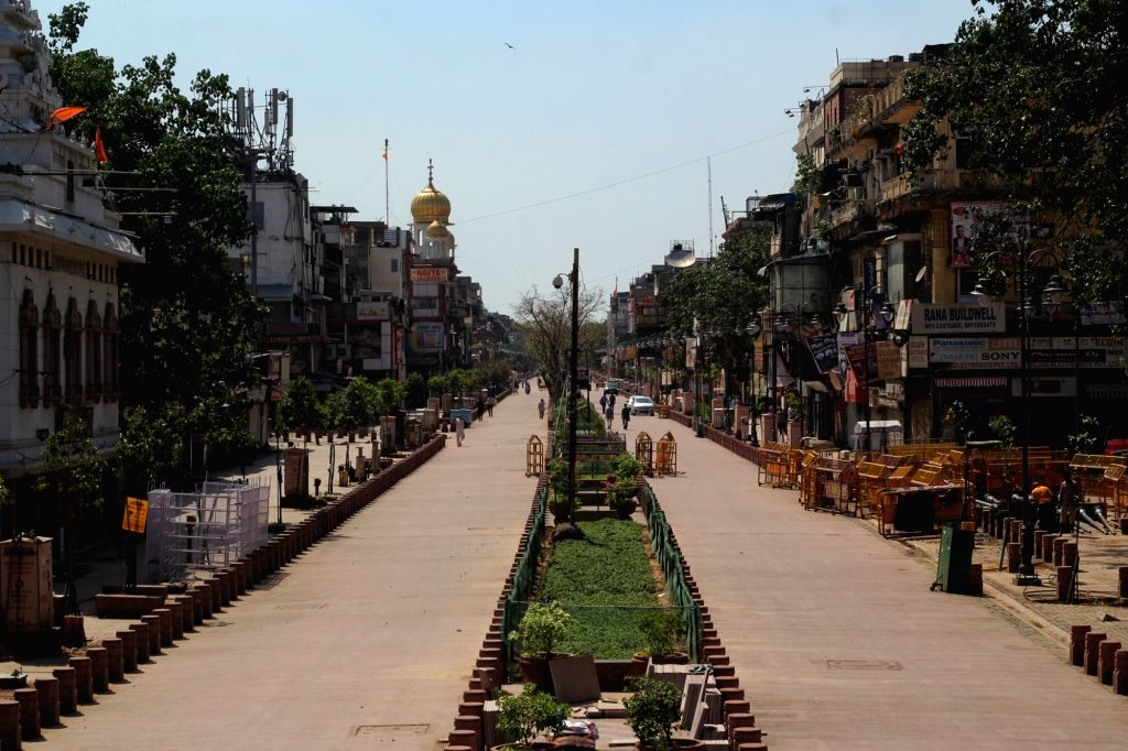 Deserted view of Chandni Chowk and Red Fort during the Curfew day in new Delhi on Saturday April 17, 2021.