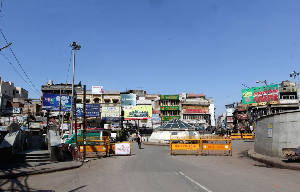 Deserted view of Chawri bazaar market during the Curfew day in new Delhi on Saturday, 17th April, 2021.