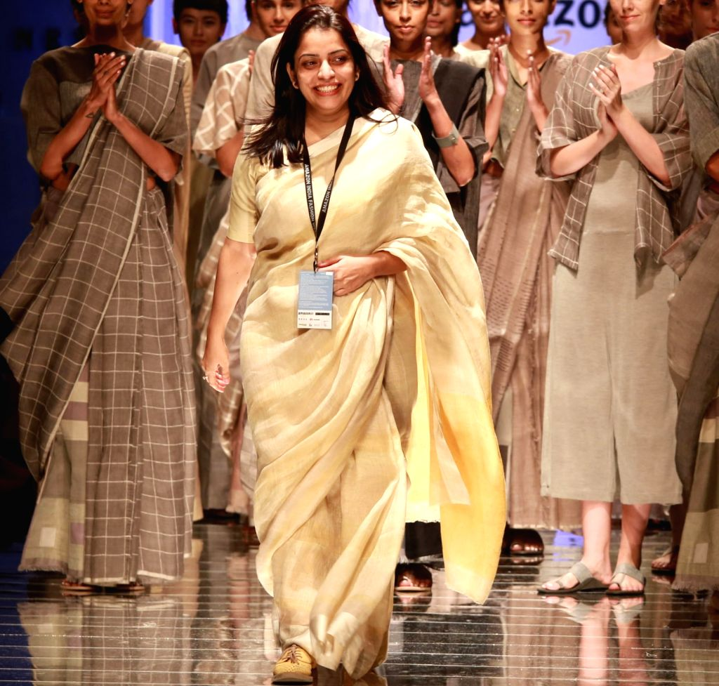 Designer Anavila Misra during her show at the Amazon India Fashion Week Spring/Summer 2017 in New Delhi on Oct 13, 2016.