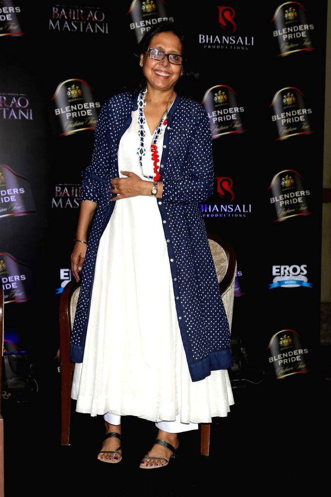 Designer Anju Modi during a press conference to launch the song `Deewani Mastani` from the upcoming film Bajirao Mastani, in Gurgaon on Oct 17, 2015. - Anju Modi