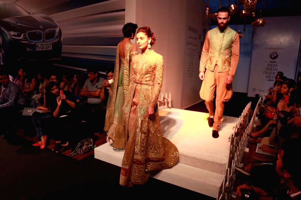 Designer Sulakshana Monga's Show  at the  BMW India Bridal Fashion Week in New  Delhi, on August 11,2015.