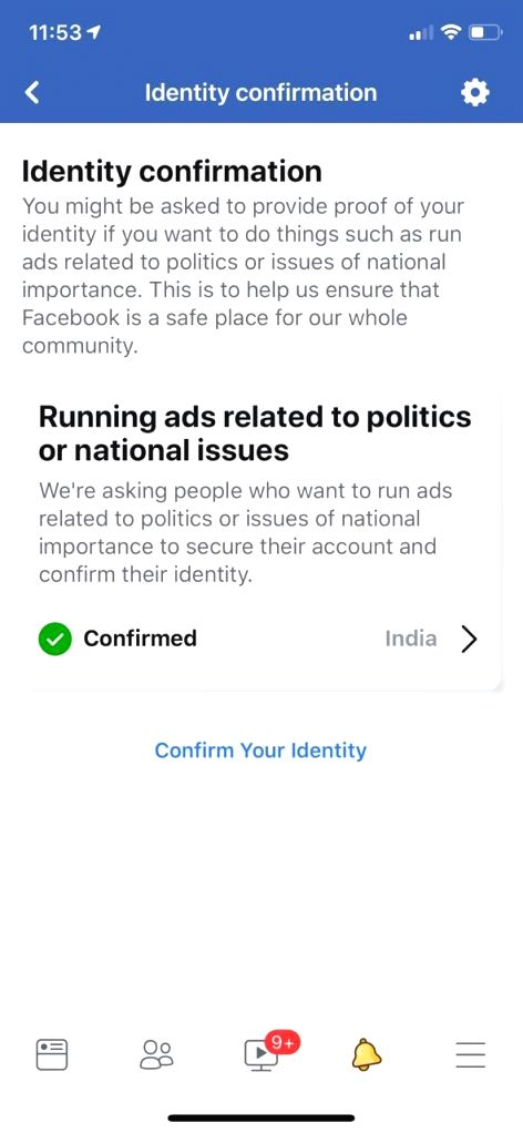 Despite Facebook claiming it does physical verification only for political ads, a Delhi user was physically verified for posting political content.