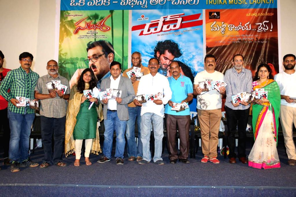 Dev, Parampara, Malli Raadoi Life Threee film's audio release function held on single dias and same time at Prasad Labs in Hyderbad 10 Sep 2014.