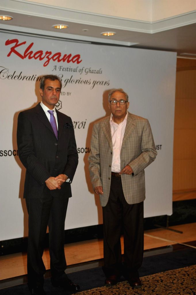 Devendra Bharma, Executive Vice President, Oberoi Hotels and Resorts and Y K Sapru, founder chairman and CEO, Cancer Patients Aid Association during a press conference organised to announce `The ...