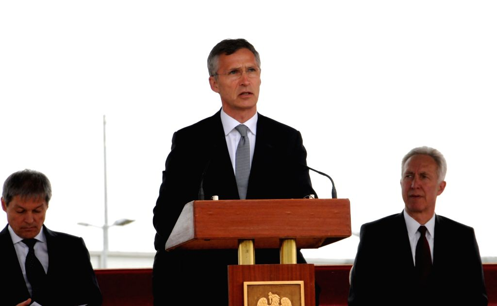 DEVESELU, May 12, 2016 - NATO Secretary General Jens Stoltenberg speaks at a ceremony at Deveselu military base, southwest of Bucharest, Romania on May 12, 2016. The U.S. AEGIS Ashore missile defense ...
