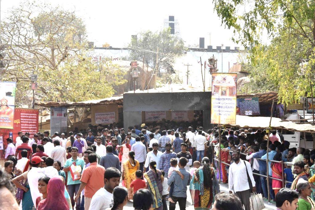 Devotees at Keesaragutta temple in Medchal-Malkajgiri district in Telangana on Feb 13, 2018.