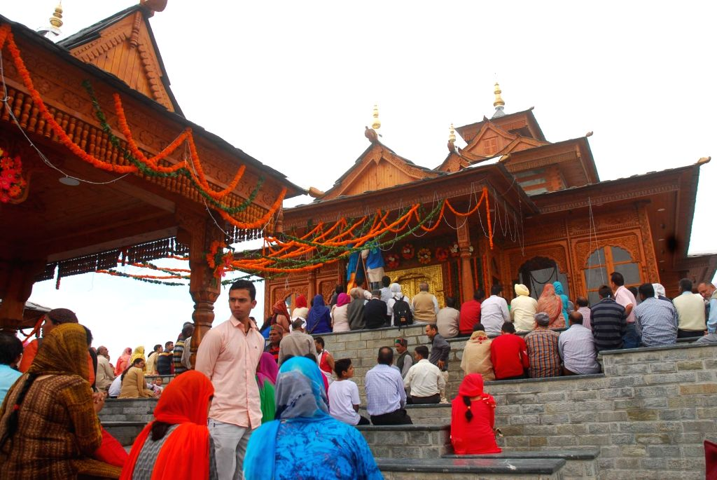 Devotees at the 250-year-old Tara Devi temple, just 13 km from Shimla, which was reconstructed in its original hill architecture with an outlay of over Rs 6 crore.