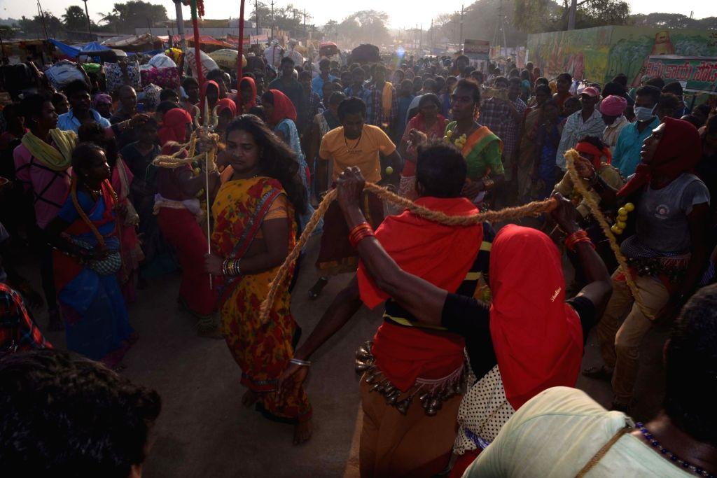 Devotees during Asia's biggest tribal fair, Sammakka-Saralamma jatara at Medaram in Telangana's Mulugu district on Feb 5, 2020. Devotees, mostly tribals, from Telangana, Andhra Pradesh, ...