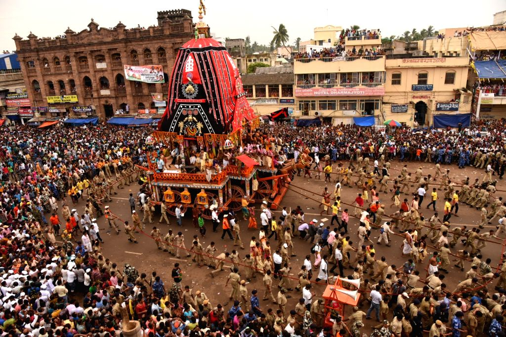 Devotees in large numbers participate in Lord Jagannath's annual rath yatra in Puri, Odisha on June 25, 2017.