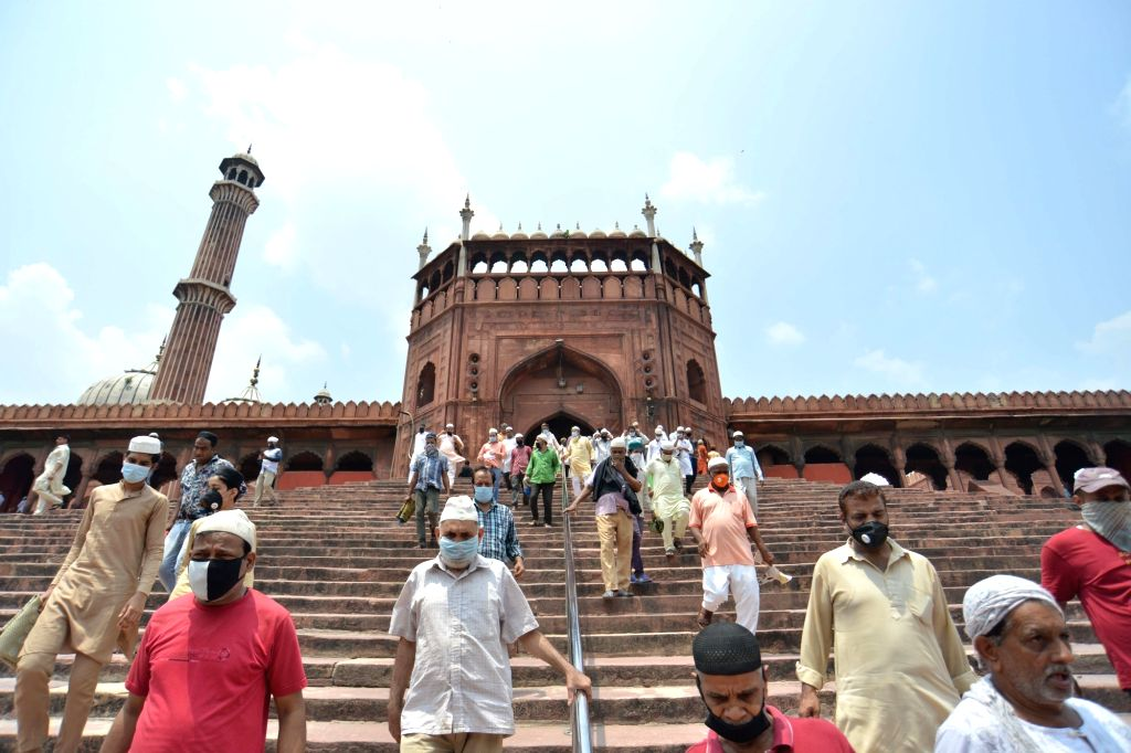 Devotees leave after offering Friday prayers at Delhi's Jama Masjid during Unlock 2.0, on July 10, 2020.