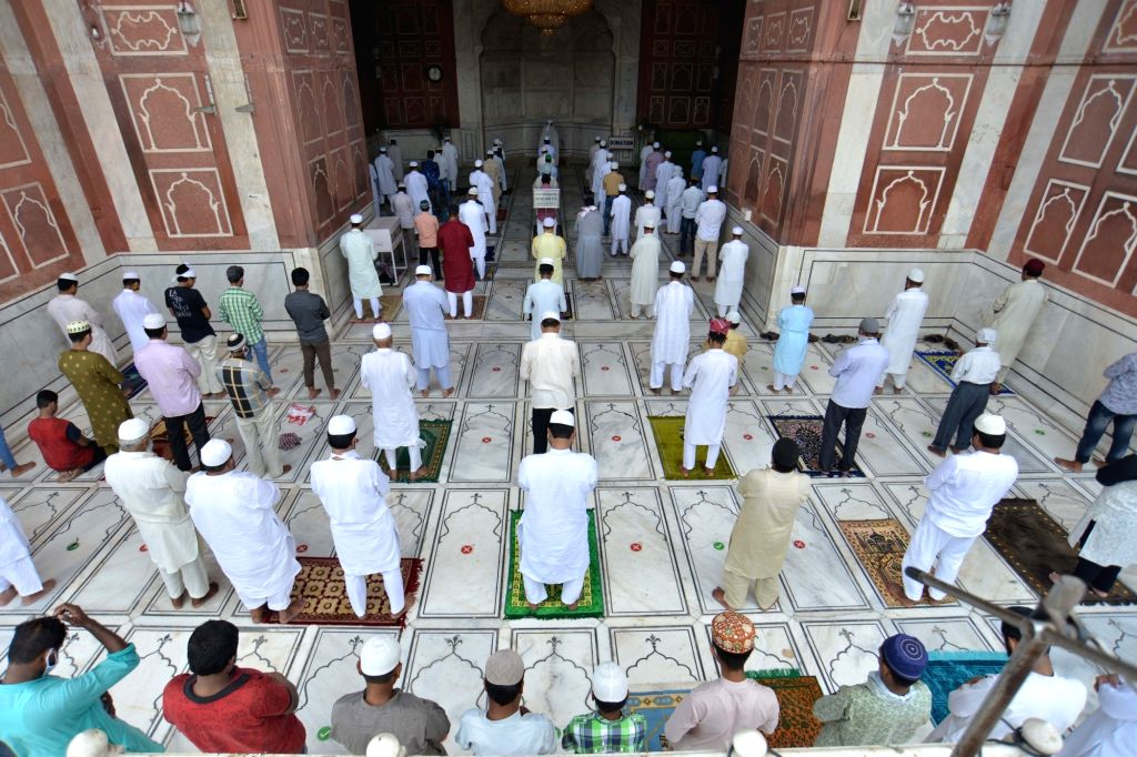 Devotees offer Friday prayers while maintaining social distance, at Delhi's Jama Masjid during Unlock 2.0, on July 10, 2020.