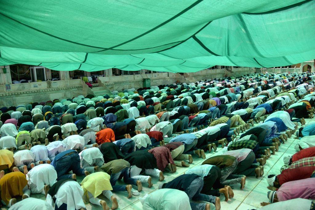 Devotees offer prayers on Jumu'atul-Widaa' - the last Friday in the month of Ramadan before Eid-ul-Fitr - in Ajmer on May 31, 2019.