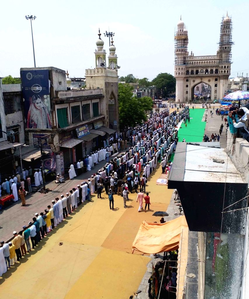 Devotees offer prayers on Jumu'atul-Widaa' - the last Friday in the month of Ramadan before Eid-ul-Fitr - at Mecca Masjid in Hyderabad, on May 31, 2019.