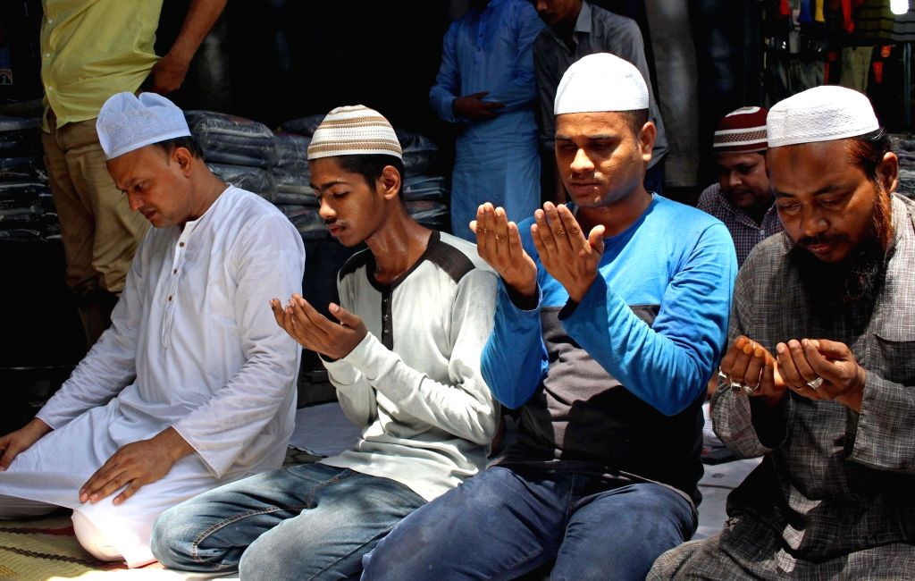 Devotees offer prayers on the first Friday of Ramadan, in Kolkata, on May 10, 2019.