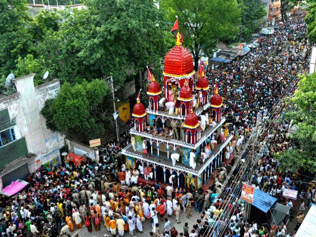 Devotees participate in a rath yatra organised in Serampore, near Kolkata, on June 25, 2017.