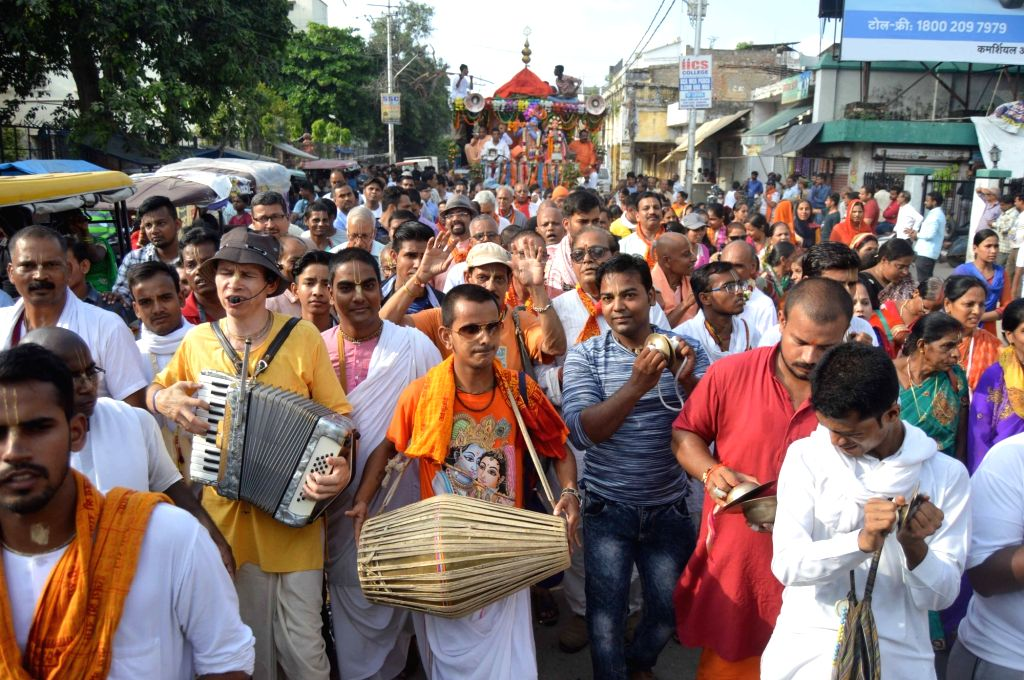 Devotees participate in a religious procession organised on Krishna Janmashtami in Allahabad on Sept 2, 2018.