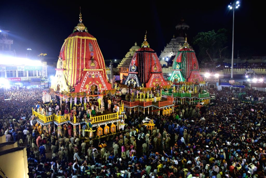 Devotees participate in Bahuda Yatra, the return car festival of Lord Jagannath, Lord Balabhadra, Lord Sudarshan and Devi Subhadra in Puri, Odisha on July 3, 2017.