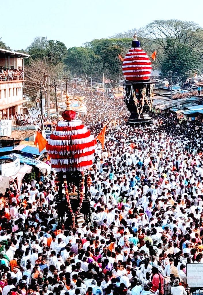 Devotees participated in Sri Ulavi Channabasaveshwara Swamy Rathotsava procession, in Belgaum  on Saturday 27th February 2021.
