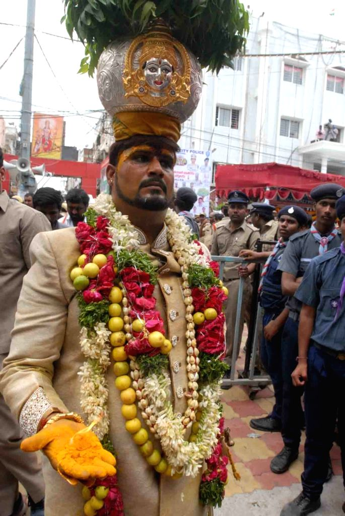 Devotees perform rituals during Bonalu festival celebrations, in Secunderabad, on July 29, 2018.