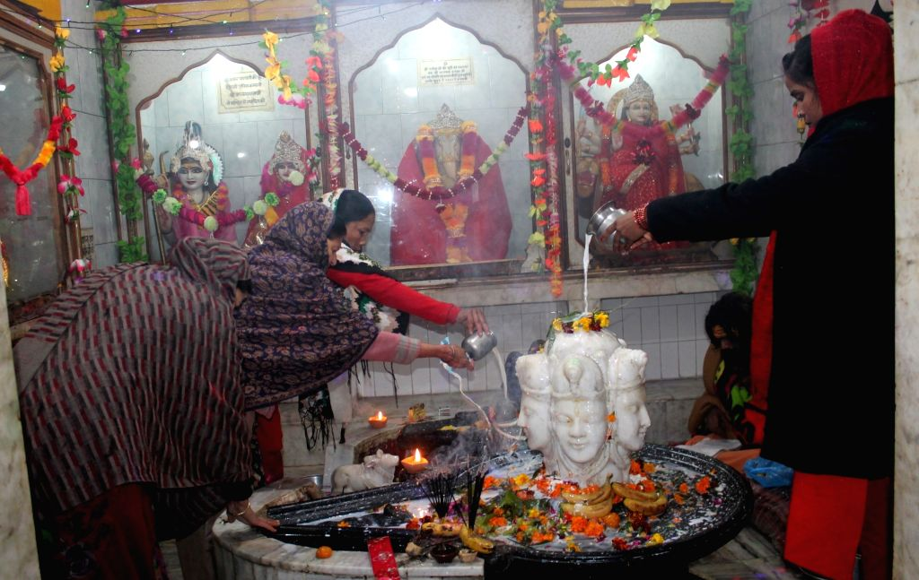 Devotees pour water and milk over the Shiv Linga as they perform rituals on the occasion of Maha Shivaratri in Srinagar on Feb 13, 2018.