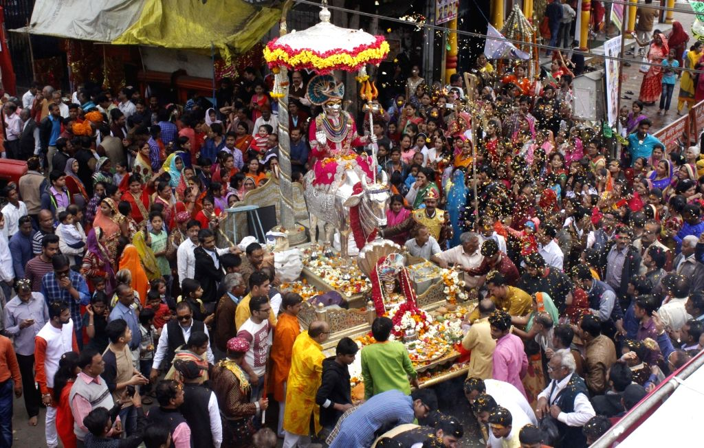 "Devotees take out a procession ""Bhole ki baraat"" or ""Shiva's baraat"" on the occasion of Maha Shivaratri in Bhopal on Feb 13, 2018."