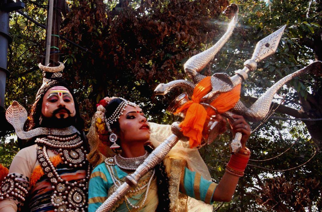 "Devotees take out a procession ""Bhole ki baraat"" or ""Shiva's baraat"" on the occasion of Maha Shivaratri in Amritsar on Feb 13, 2018."