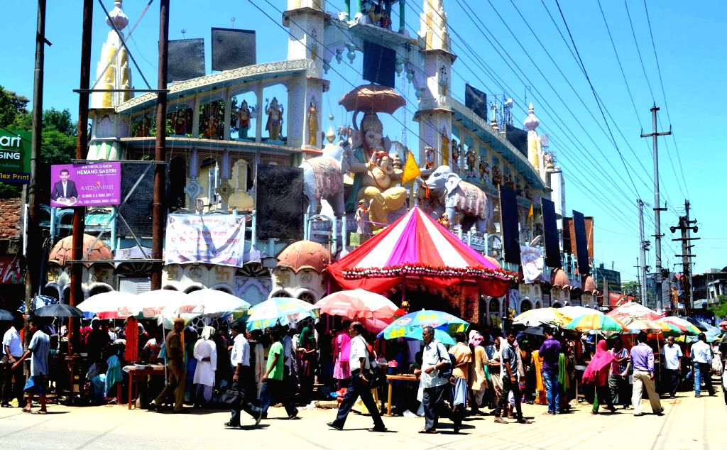 Devotees throng a Ganesh Temple on Ganesh Chaturthi in Guwahati on Aug 29, 2014.