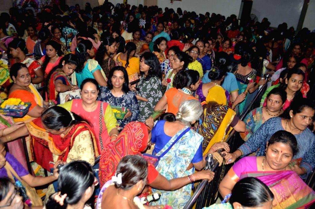 Devotees throng Siddhivinayak temple on Angaraki Sankashti Chaturthi in Mumbai on July 31, 2018.