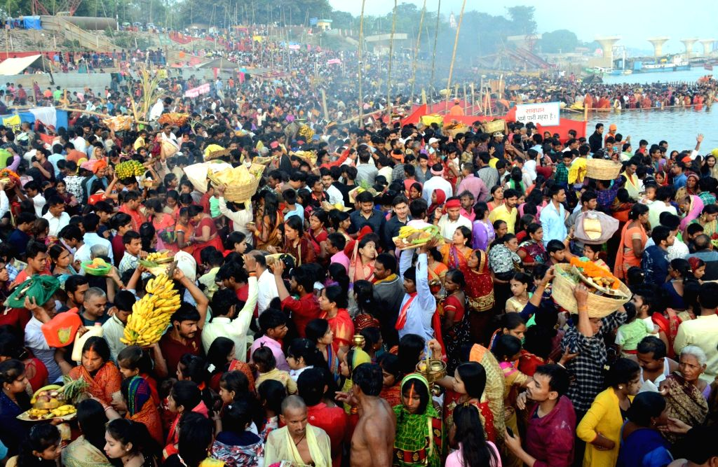Devotees throng the banks of Ganga river during 'Chaiti Chhath' Puja celebrations in Patna, on April 12, 2019.