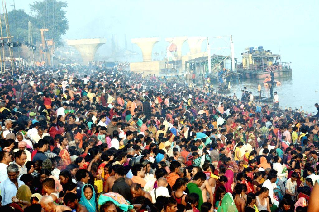 Devotees throng the banks of Ganga river during 'Ganga Dussehra' celebrations in Patna on Nov 12, 2019.