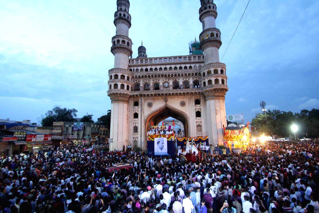 Devotees thronge the streets of Hyderabad on the occasion of Mahankali Bonalu Jatara also known as Lashkar Bonalu on Aug 10, 2015.
