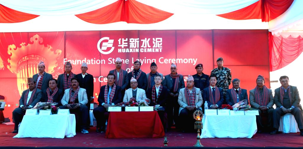 DHADING, March 2, 2019 - Nepal's Speaker of House of Representatives Krishna Bahadur Mahara (5h L, front) and Vice President of China's Huaxin Cement Xu Gang (C, front) attend the foundation stone ...