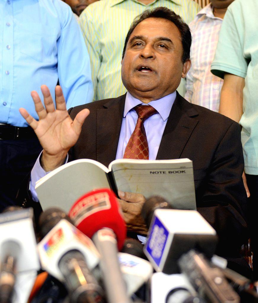 The International Cricket Council (ICC) President AHM Mustafa Kamal speaks to media after he arrived at Hazrat Shahjalal International Airport in Dhaka, Bangladesh, ...
