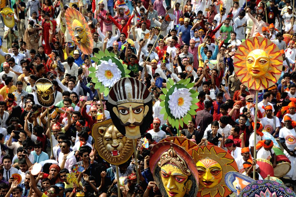 Bangladeshi participate in a rally to celebrate the Bengali New Year or Pohela Boishakh in Dhaka, Bangladesh, April 14, 2015. Bangladeshi people celebrated the ...