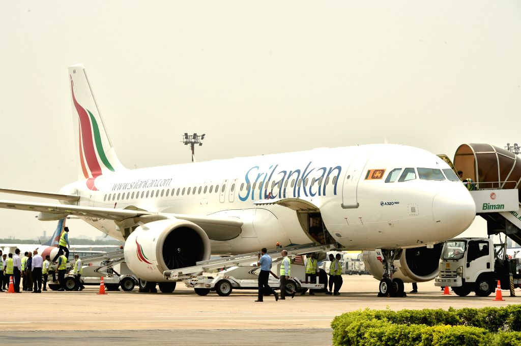 DHAKA, April 24, 2019 - Photo taken on April 24, 2019 shows a SriLankan Airlines flight carrying the body of a Bangladeshi child who was killed in the attacks in Sri Lanka, at Hazrat Shahjalal ...