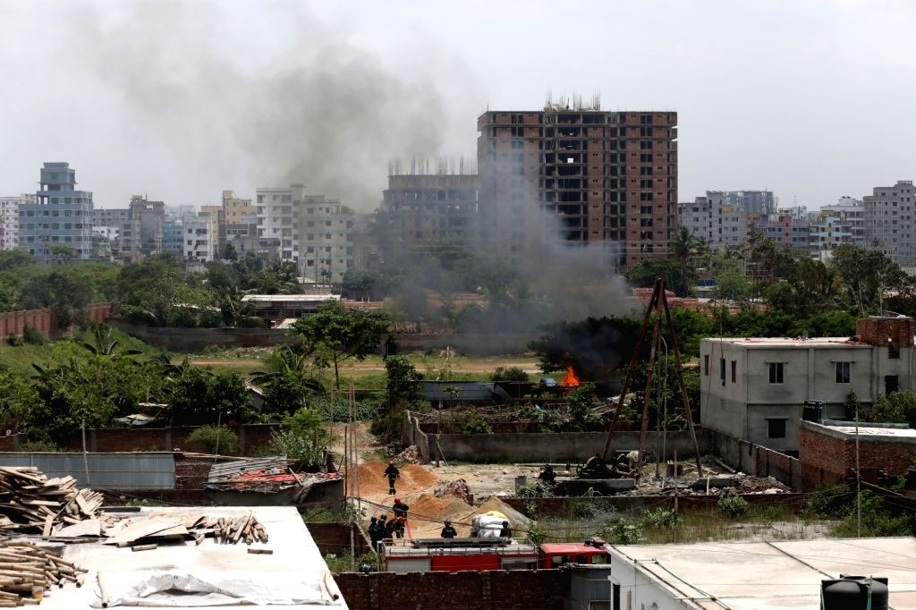 DHAKA, April 29, 2019 - Smoke rises from a burning militant hideout in Dhaka, Bangladesh, April 29, 2019. Two suspected militants were confirmed dead in a series of blasts at their hideout during an ...