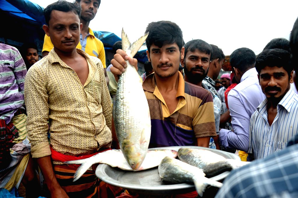 DHAKA, Aug. 13, 2017 - A man holds a Hilsa fish at a market in Dhaka, Bangladesh, Aug. 13, 2017. Hilsa, Bangladesh's national fish popular for its tasty flesh, is set to be registered as the ...