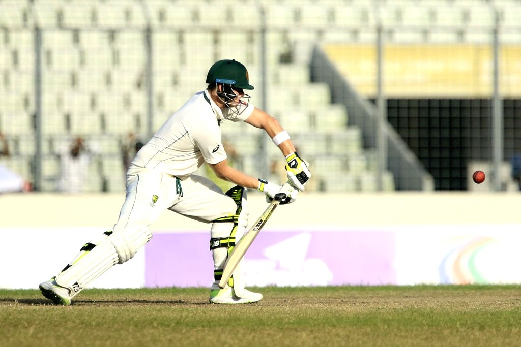 Dhaka: Australian skipper Steven Smith in action on Day 3 of the 1st test match between Bangladesh and Australia in Dhaka, Bangladesh on Aug 29, 2017. (Photo: Bdnews24/IANS)