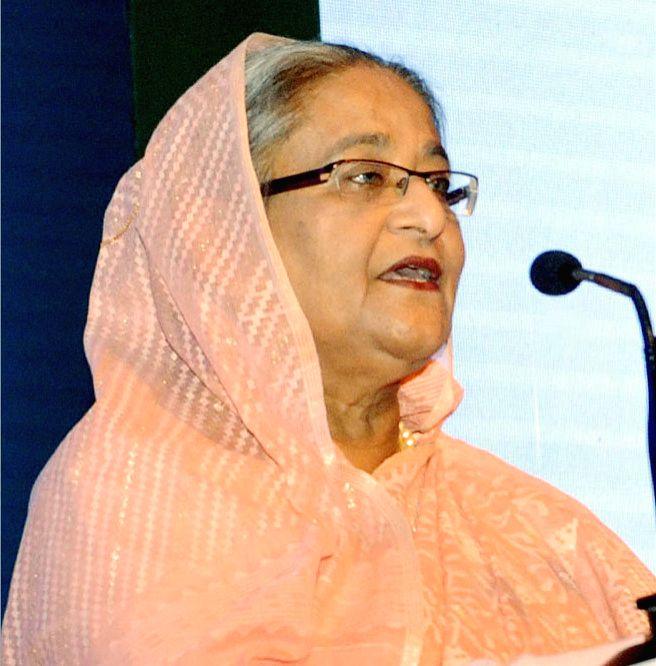 Dhaka (Bangladesh): Bangladesh Prime Minister Sheikh Hasina addresses at Bangladesh Investment and Policy Summit-2016 in Dhaka, on Jan 24, 2016. (Photo: Bdnews24/IANS) - Sheikh Hasina