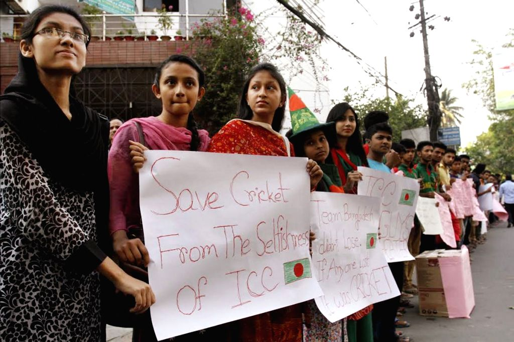 Bangladeshi cricket fans protest the umpires​' decision​ during the​ ICC World Cup 2015 quarter-final match between India and Bangladesh ​at Dhaka University campus in Bangladesh on ...