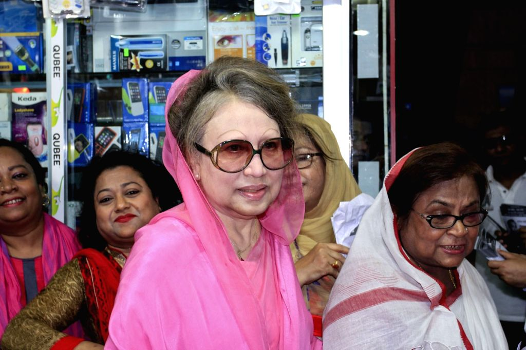 BNP Chairperson Khaleda Zia campaigns for the party-endorsed Dhaka North City Corporation mayor candidate Tabith Mohammed Awal in Dhaka, Bangladesh, on April 18, 2015.