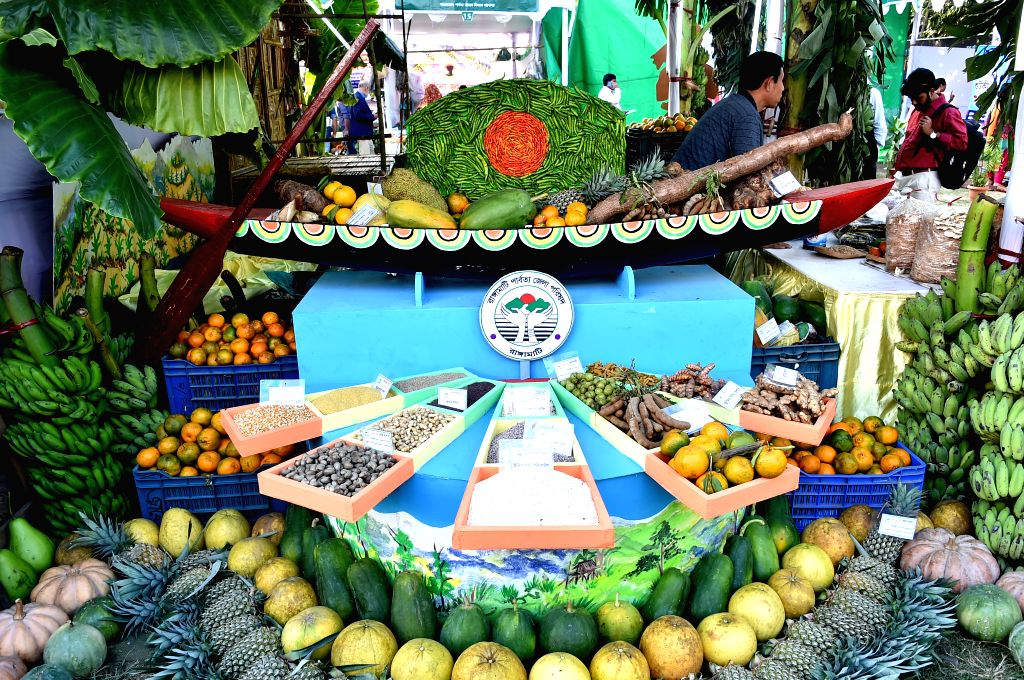 DHAKA, Dec. 6, 2019 - Various fruits are displayed during a fair promoting indigenous cultures and products in Dhaka, Bangladesh on Dec. 5, 2019.