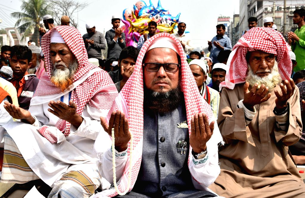 DHAKA, Feb. 20, 2019 - Devotees pray at Ijtema venue in Tongi on the outskirts of Dhaka, Bangladesh, Feb. 19, 2019. The annual Muslim congregation concluded in Bangladesh Tuesday with devotees ...