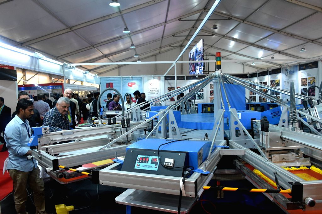 DHAKA, Jan. 11, 2019 - Photo taken on Jan. 11, 2019 shows textile and garment machinery at a four-day textile and garment technology exposition in Dhaka, Bangladesh.