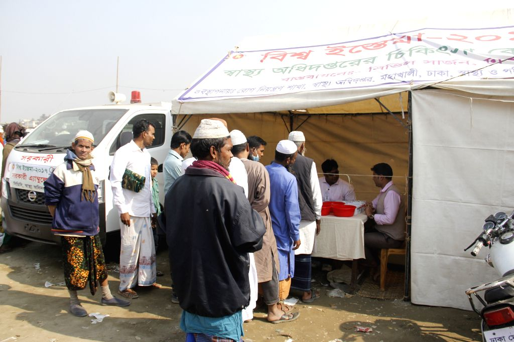 """DHAKA, Jan. 13, 2017 - Devotees who participate the three-day Muslim congregation called """"Biswa Ijtema"""" gather in front of a health camp at Tongi on the outskirts of Bangladesh capital ..."""