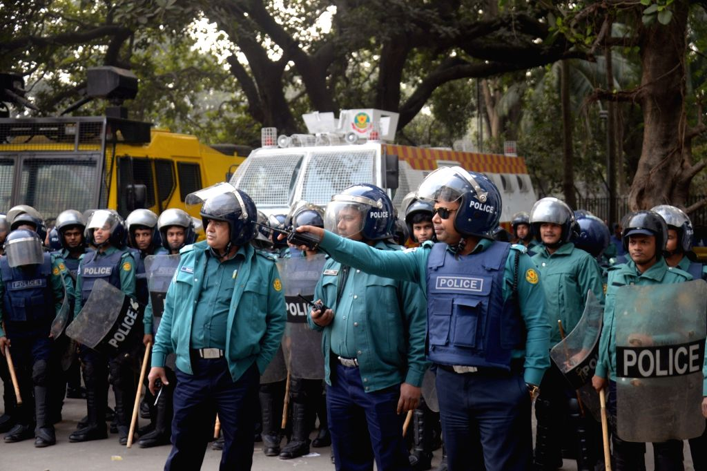 DHAKA, Jan. 18, 2018 - Anti-riot police stand guard while opposition leader and former Prime Minister Khaleda Zia was in a court in Dhaka, capital of Bangladesh, Jan. 17, 2018. Khaleda Zia on ... - Khaleda Zia